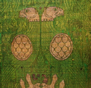 Frammento di lampasso lucchese di seta con aquile del XII secolo. Firenze, Museo Nazionale del Bargello, collezione Franchetti.