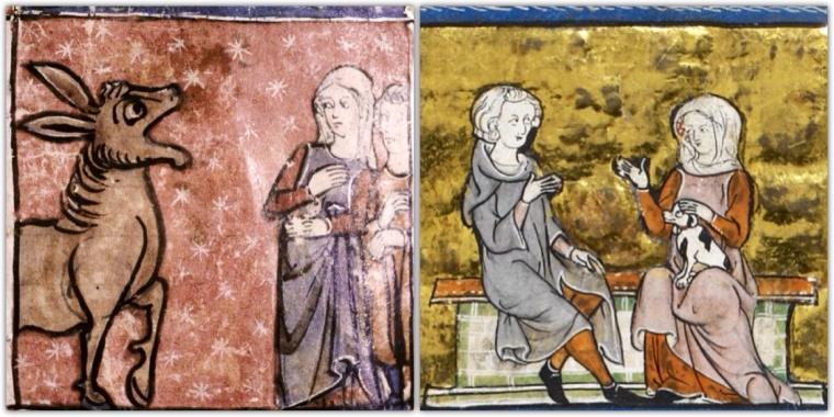 Miniature francesi 1315-25. Donne in surcot e velo