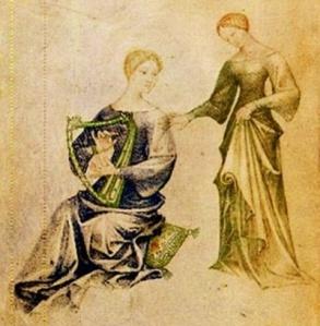 """Giovannino de'Grassi, Concerto di Dame - dal """"Taccuino di disegni detto di Giovannino de'Grassi"""", 1370 circa - Bergamo, Biblioteca Civica A. Mai."""