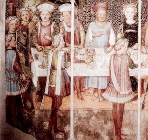 """Uomini in giornea e capelli arricciati, """"Storie di Teodolinda"""", Gregorio Zavattaro, Monza, 1444"""