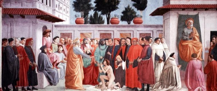 """Uomini in tunica talare e lucco o mantello, """"La Resurrezione del figlio di Teofilo e san Pietro in cattedra"""", Masaccio - Lippi, 1425 - 1483, Firenze."""
