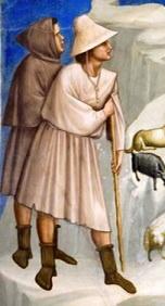 Tunica a maniche strette lunga al ginocchio, calze in lana, cappello di paglia o cappuccio. Giotto, cappella degli Scrovegni, Padova