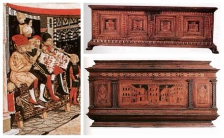 """A destra. Particolare  """"Cassone Adimari"""" da """"Corteo nuziale"""", Giovanni si Ser Giovanni 1440 A sinistra. Cassoni in legno di Federigo da Montefeltro, Palazzo ducale di Urbino"""