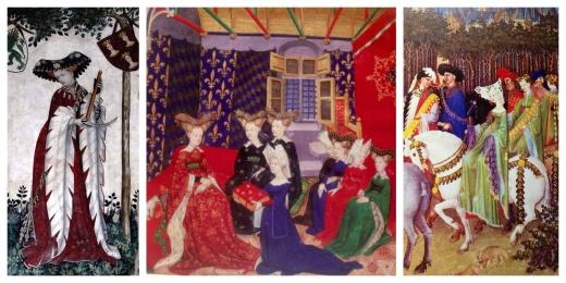 Particolari. Eroina dei Nove prodi e Nove Eroine, Castello della Manta. Illustrazione da Christine de Pizan. Festa equestre alla corte francese del Duca di Berry