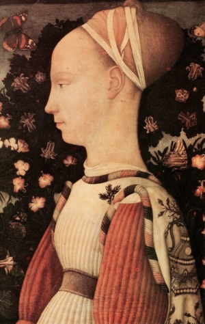 Pisanello. Principessa estense. Decorazioni con perle sulla manica.