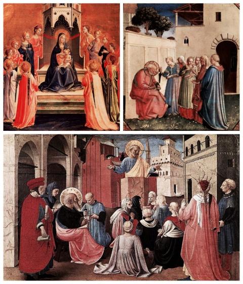 Beato Angelico. Madonna con il Bambino e dodici angeli. L'imposizione del nome al Battista. Predica di San Pietro alla presenza di San Marco
