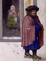Mantello e copricapo in lana XIV secolo
