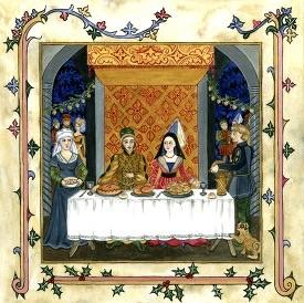 Banchetto e decorazioni natalizie