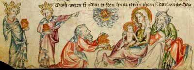 I Re Magi consegnano i doni a Gesù Bambino