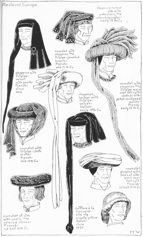 "Usi del capperone nel XV secolo ""Village Hat Shop Gallery"" capitolo 7 - ""Medieval or Gothic Europe"""