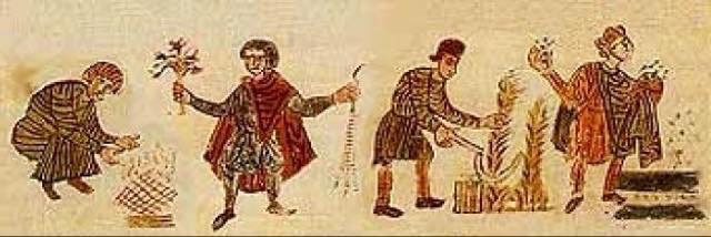 Attività stagionali, contadini sotto il dominio di Carlo Magno. Calendario dei Mesi, Abbazia San Pietro, Salisburgo