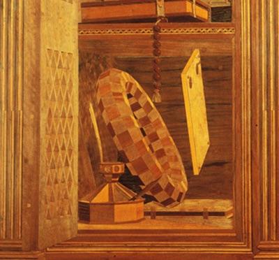Lavorazione in legno dallo studiolo di Federico da Moltefeltro presso il Palazzo Ducale di Urbino