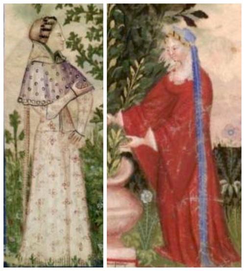 Capperoni femminili da Tacuinum Sanitatis, Pavia/Milano, fine XIV secolo