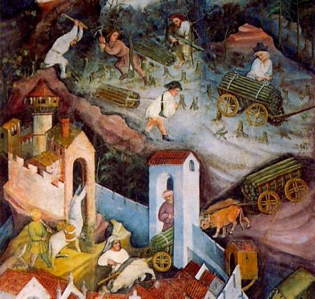 Mese di dicembre. Il Ciclo dei Mesi, affreschi nella Torre dell'Aquila nel Castello del Buonconsiglio di Trento dipinti dal maestro Venceslao (documentato al 1397)