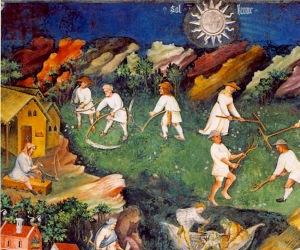 Mese di luglio. Il Ciclo dei Mesi, affreschi nella Torre dell'Aquila nel Castello del Buonconsiglio di Trento dipinti dal maestro Venceslao (documentato al 1397)
