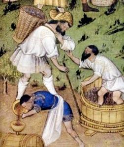 """""""Raccolta e Vendemmia"""" Libro delle ore, 1430, Biblioteca Nazionale di Parigi (l'uomo in blu indossa dei """"calcetti"""", calze corte con piede)"""