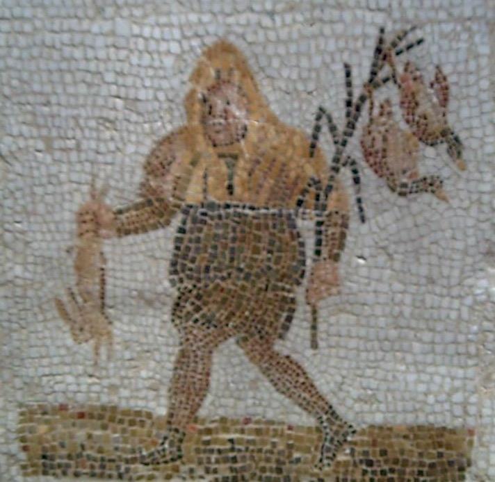 Dicembre è rappresentato da feste Saturnali in onore di Saturno. Mosaico III secolo d.C.
