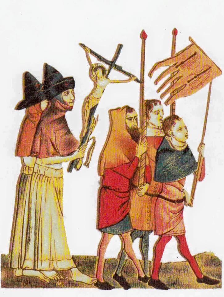 """Immagine tratta da """"Pellegrini del medioevo. Gli uomini, le strade, i santuari"""", Raymond Oursel, scrittore, ricercatore e storico francese scomparso nel 2008. Biblioteca Storica."""