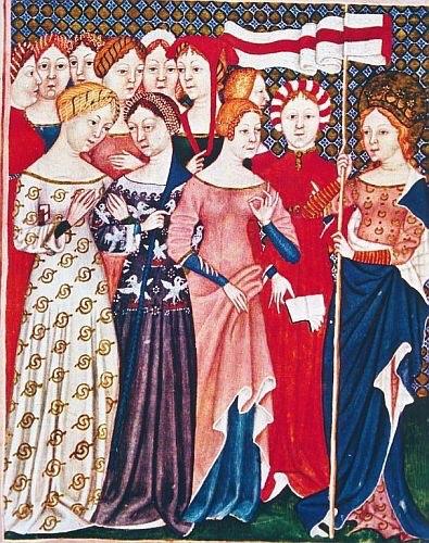 """Parigi, Biblioteca nazionale, Ofiziolo Ms. Lat. 757, f.373, Sant'Orsola e le compagne, 1380. La miniatura riproduce una notevole varietà di vesti e acconciature trecentesche. La seconda figura femminile da sinistra ha un particolare tipo di acconciatura di perle che veniva detta """"terzolla"""" perché costituita da trecento perle che creavano una sorta di """"fascia""""."""