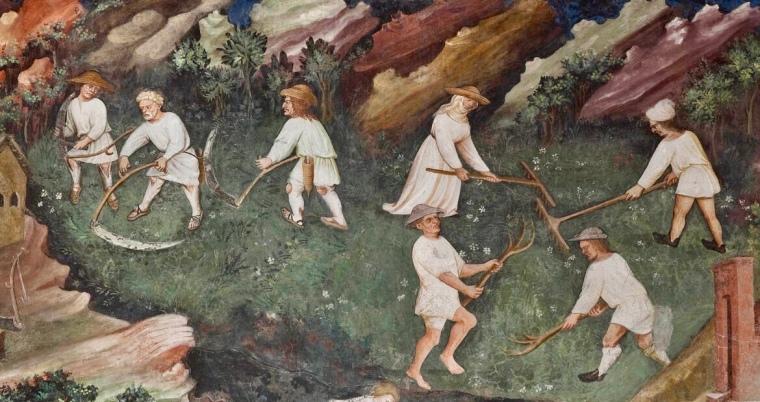 """I contadini, particolare del """"Mese di luglio"""". Il Ciclo dei Mesi, affreschi nella Torre dell'Aquila nel Castello del Buonconsiglio di Trento dipinti dal maestro Venceslao (documentato dal 1397)"""